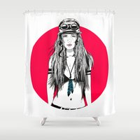 moto Shower Curtains featuring Moto Girl I by Mónica Carrero