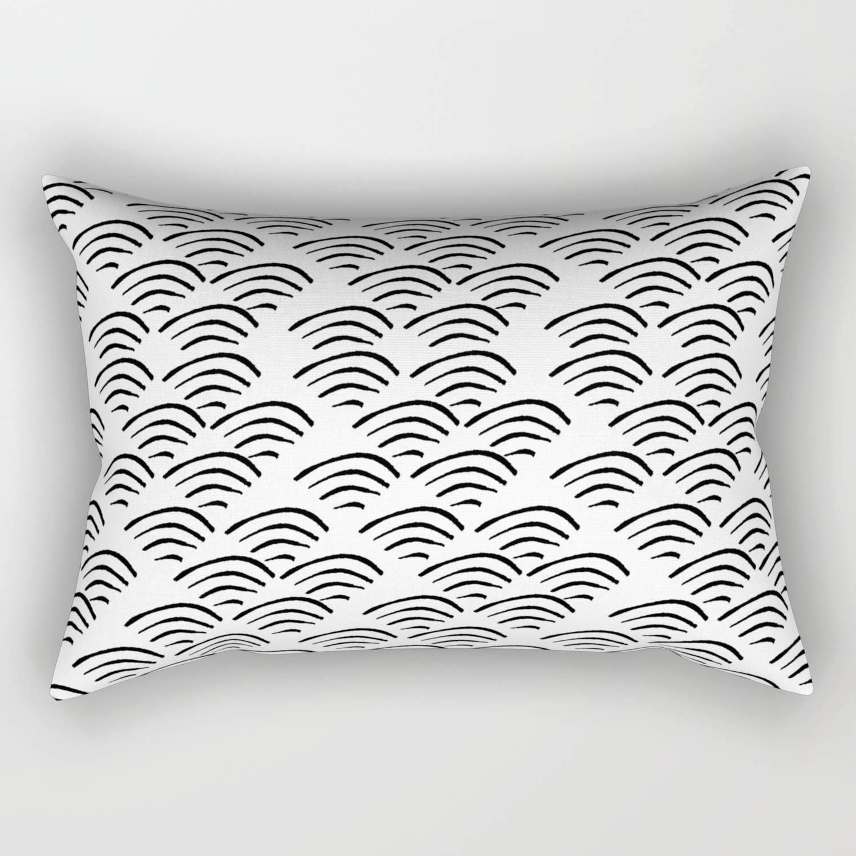 Linocut wave pattern black and white ocean waves minimalist decor gifts  Rectangular Pillow