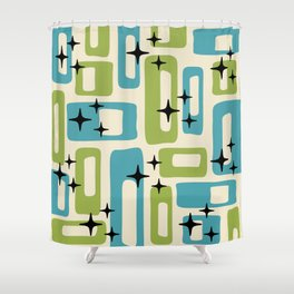 Retro Mid Century Modern Abstract Pattern 225 Blue and Green Shower Curtain