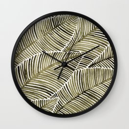Tropical Leaves – Taupe Palette Wall Clock