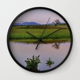 Serenity sunset at the lagoon. Spring dreams Wall Clock