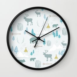Woodlands in Teal Wall Clock