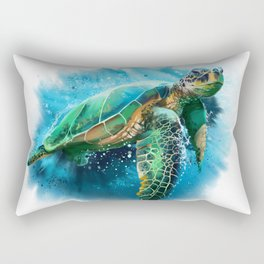 Abstract Watercolor Sea Turtle on White 3 Minimalist Coastal Art - Coast - Sea - Beach - Shore Rectangular Pillow