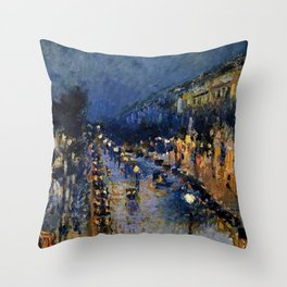 Boulevard Montmartre at Night by Camille Pissarro Throw Pillow