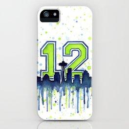 Seattle 12th Man Art Seattle Skyline Space Needle iPhone Case