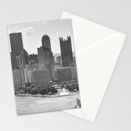 Pittsburgh City Skyline Point State Park Fountain Black White Photography Panoramic Print Stationery Cards