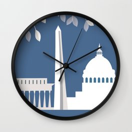Washington, D.C. - Skyline Illustration by Loose Petals Wall Clock
