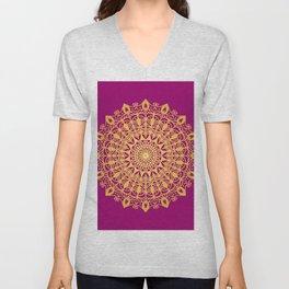 Gold yoga mandala Indian henna pattern Unisex V-Neck