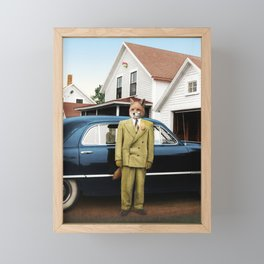 Mr. Fox posing with his new car Framed Mini Art Print