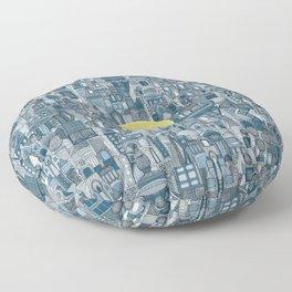 space city sun blue Floor Pillow