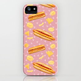 Hot Dogs and Chips - on Pink iPhone Case