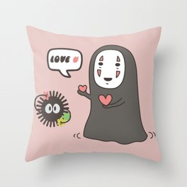 No-Face in Love of SootBall Throw Pillow