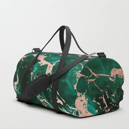 Modern rose gold marble green emerald watercolor pattern Duffle Bag