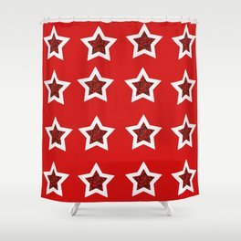 red star 6 Shower Curtain