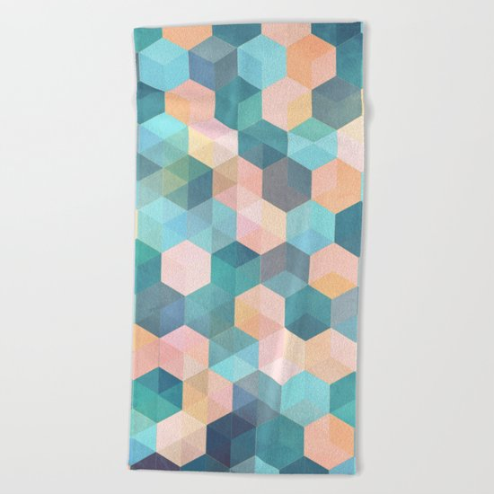 Child's Play 2 - hexagon pattern in soft blue, pink, peach & aqua Beach Towel