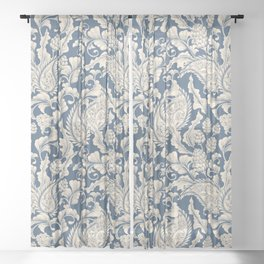 Vintage & Shabby Chic - William Morris Classic Blue Antique Floral Sheer Curtain