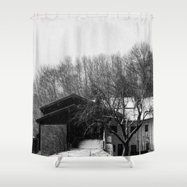 Chiemgau homestead in the snow storm | Chiemgauer Gehöft im Schneegestöber Shower Curtain