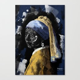 Typography with a pearl earring Canvas Print