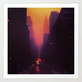 42nd Street, NYC - The Chrysler Building at Sunset Art Print