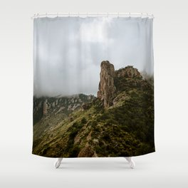Foggy Mountaintop at Lost Mine Trail, Big Bend - Panoramic Shower Curtain