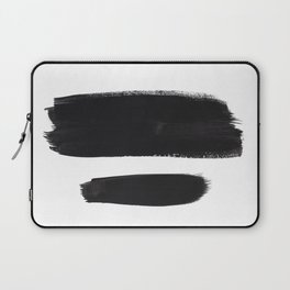 Black And White Minimalist Mid Century Abstract Ink Art Minimal Brush Strokes Black Color Block Laptop Sleeve