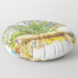 Aquarelle sketch art. Boat with flowers in the forest, Tuscany, Italy Floor Pillow