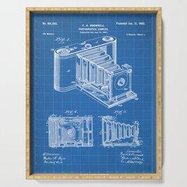 Folding Camera Patent - Photography Art - Blueprint Serving Tray