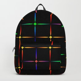 Neon diamonds. Pattern or background of multicolored neon stars on a black background Backpack