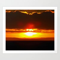 sunset Art Prints featuring Sunset by Aaron Carberry