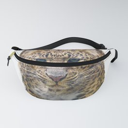 Watercolor Portrait of Leopard  on white background Fanny Pack