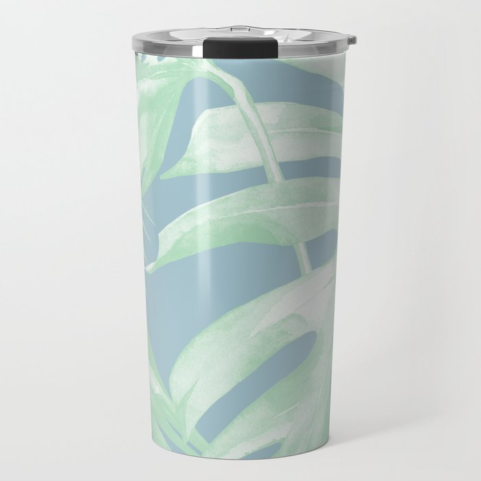 tropical leaves luxe pastel sea turquoise blue green travel mug by
