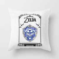majora Throw Pillows featuring Zelda legend - Hylian shield by Art & Be