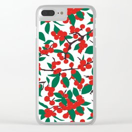 Holiday Winterberries + Branches Clear iPhone Case