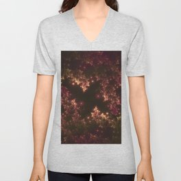 Fractal Leaves Red Glow Unisex V-Neck