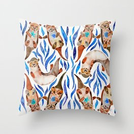 Five Otters – Blue Palette Throw Pillow