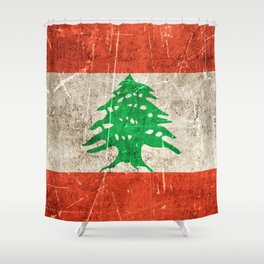 Vintage Aged and Scratched Lebanese Flag Shower Curtain