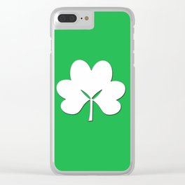 St Patty's Day Green background with white shamrock Clear iPhone Case
