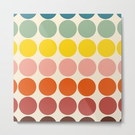 Classic Freehand Retro Bubbles And Dots Metal Print