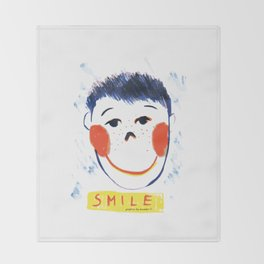 Face smile drawing Throw Blanket