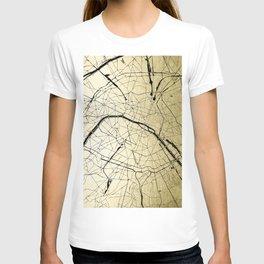 Paris France Minimal Street Map - Gold on Black T-shirt