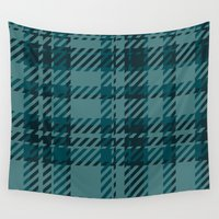 plaid Wall Tapestries featuring Plaid by Xiao Twins