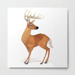 Low Poly White-tailed Deer Metal Print