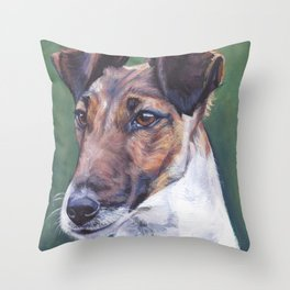 SMOOTH FOX TERRIER dog art portrait from an original painting by L.A.Shepard Throw Pillow