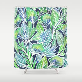 Masked Flora Collection Leaves Shower Curtain