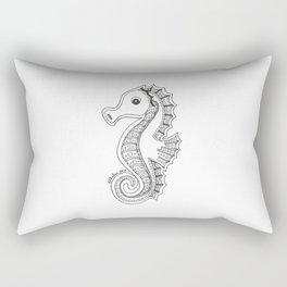 Seahorse Drawing Black & White Rectangular Pillow