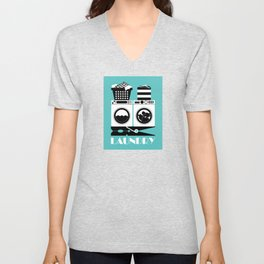 Retro Laundry Sign - Turquoise, Black and White Unisex V-Neck