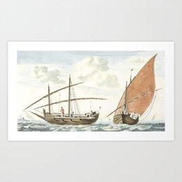 Ships on the sea of Istanbul by Johan Teyler (1648-1709). Art Print