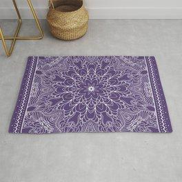 Mandala, Flower, Purple, Boho Wall Art Rug