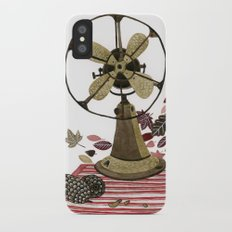 Still life with vintage fan and autumn leaves Slim Case iPhone X