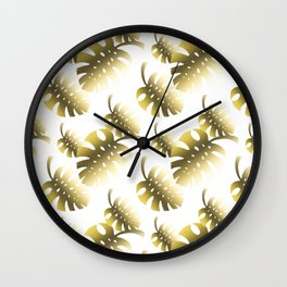 Modern gold color tropical cheese leaves pattern Wall Clock